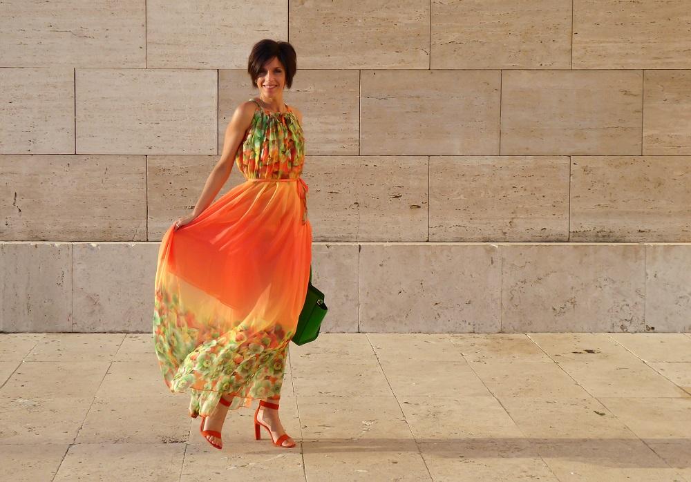 Tangerine Print Dress