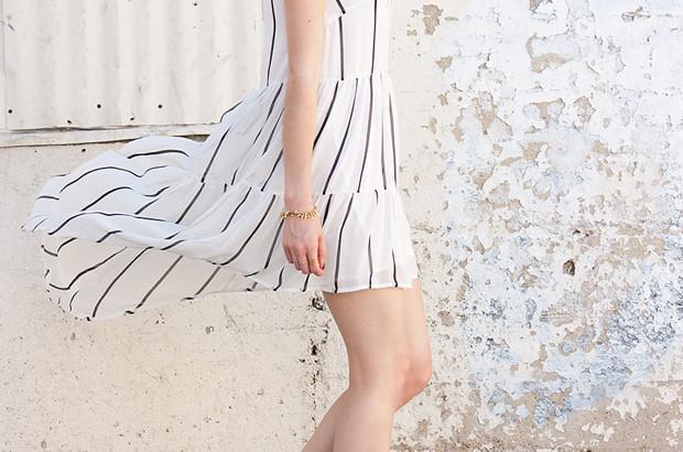 Black and white layered dress