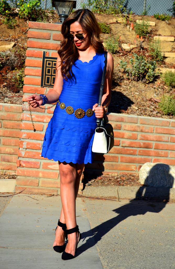 Blue Scalloped Dress