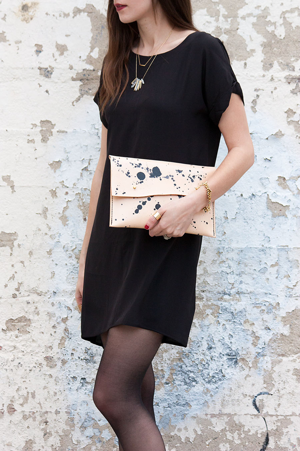lbd with speckled clutch