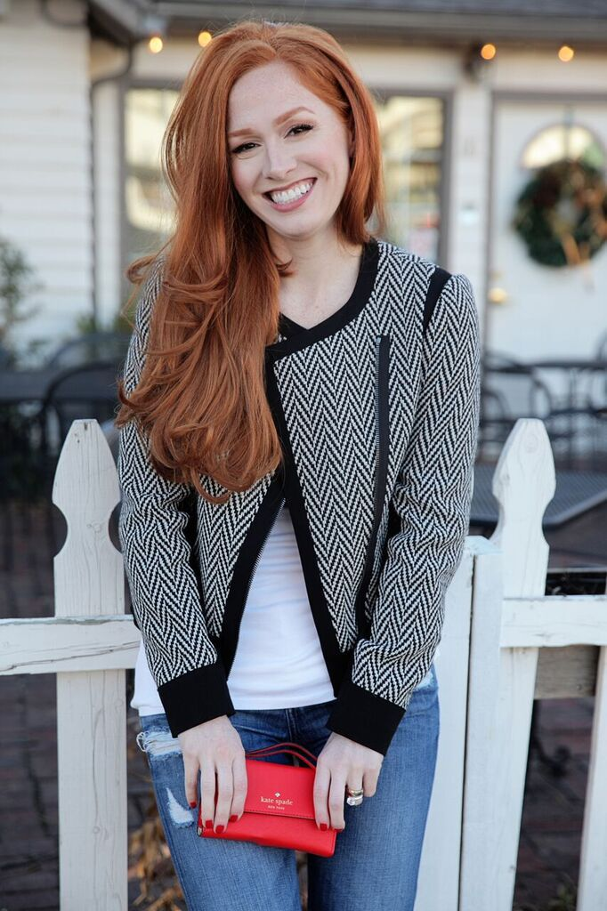 Black and white chevron pattern jacket