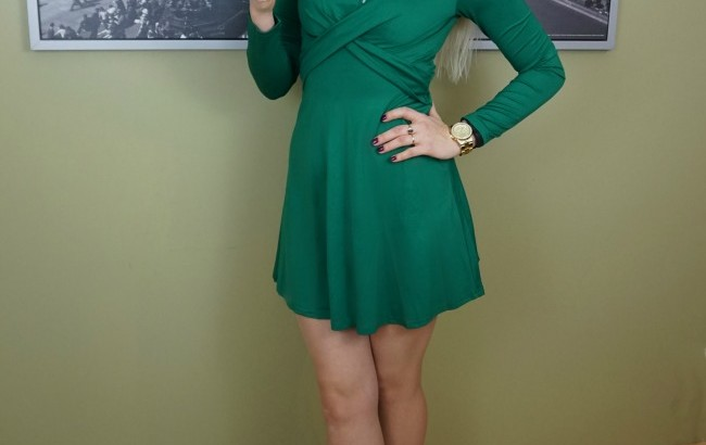 green cross front dress