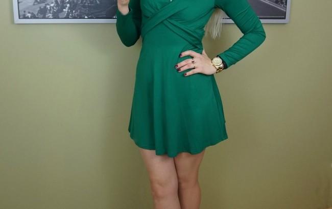 green cross front dress