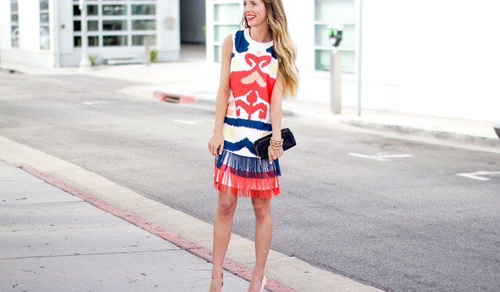 printed fringe dress