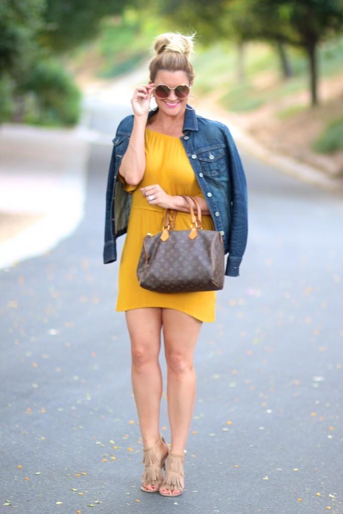 mustard dress and denim jacket