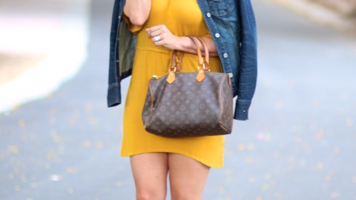 mustard dress and denim jacket