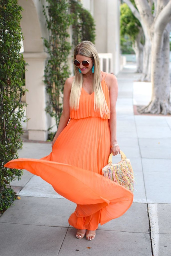 orange pleated dress