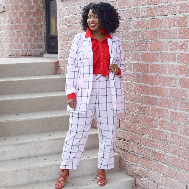 plaid pants suit