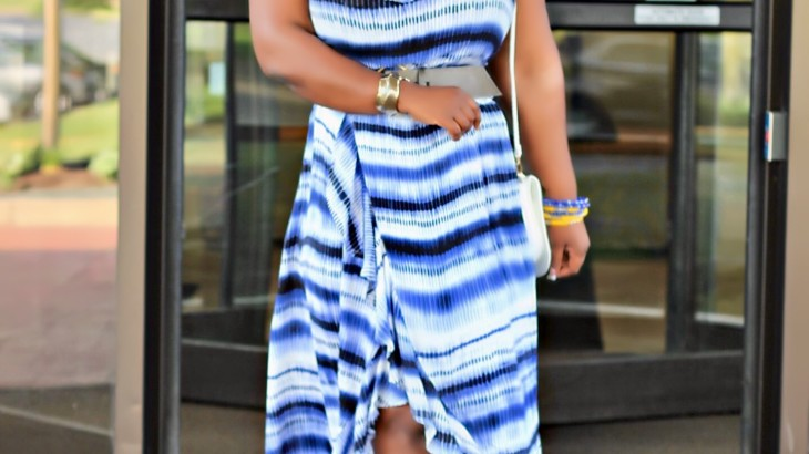 Off shoulder blue dress